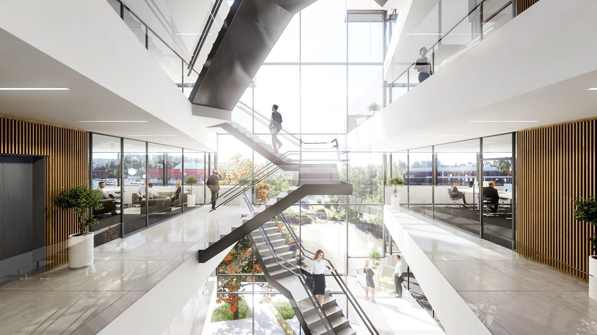 Eskalator Trapp og atrium